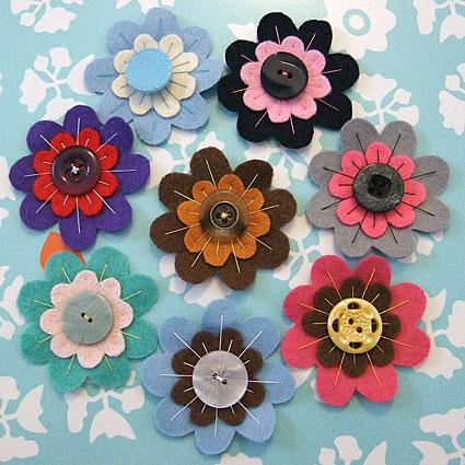 Vintage Felt Flower Brooches