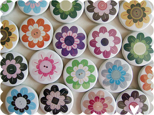 vintage flower badges