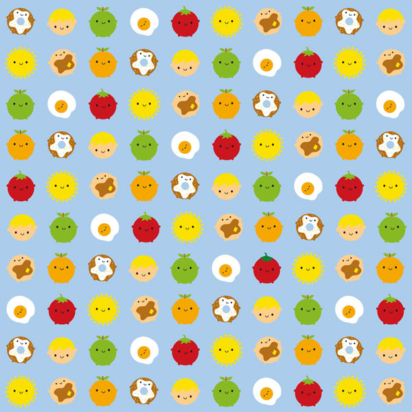 kawaii breakfast fabric
