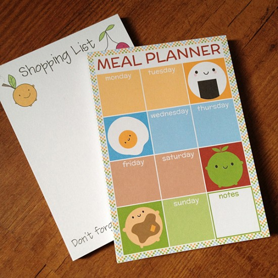 meal planner & shopping list pads