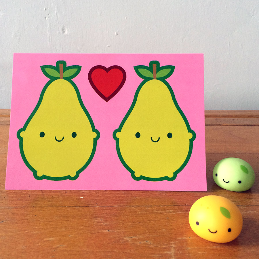 kawaii pears valentine card