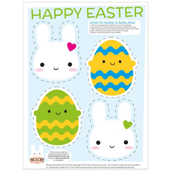 photograph relating to Printable Easter Decorations named Free of charge Easter Bunny Garland Printable - Inquiring For Problem