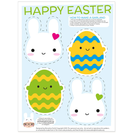 kawaii free easter printable