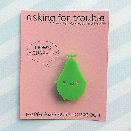 happy pear acrylic brooch