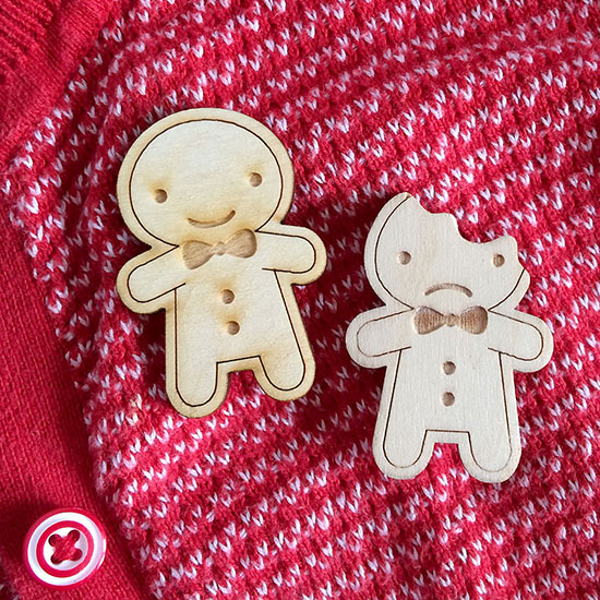 gingerbread man brooches
