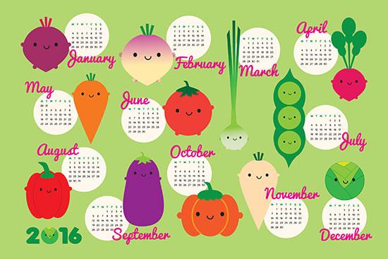 5 a day calendar 2016