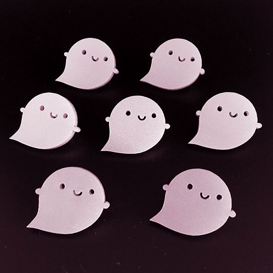cotton candy ghost brooches