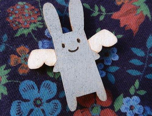 angel bunny brooch