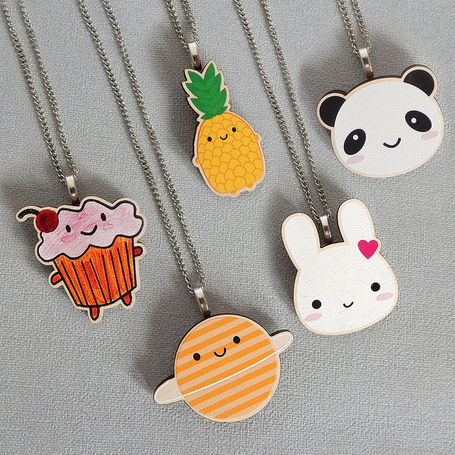 kawaii wooden necklaces - askingfortrouble