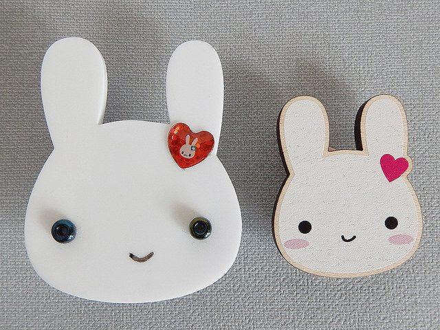 kawaii bunny brooches - askingfortrouble