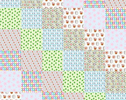 spoonflower cheater quilt - kawaii patterns by marcelinesmith