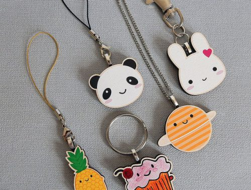 wooden necklaces and keyrings