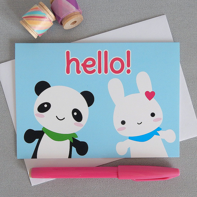 kawaii bunny and panda card