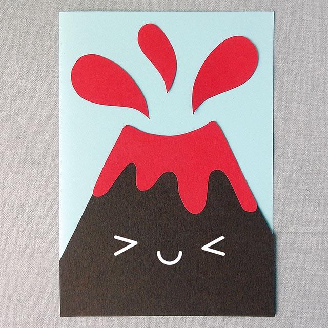 kawaii volcano paper craft tutorial copyright marceline smith