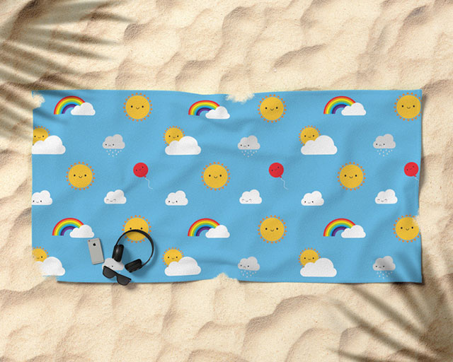 kawaii skies beach towel