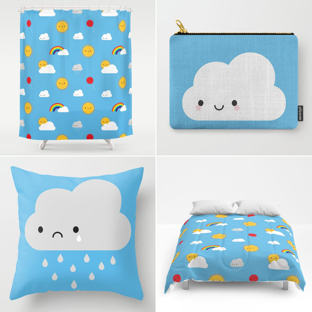 society6 kawaii skies pattern