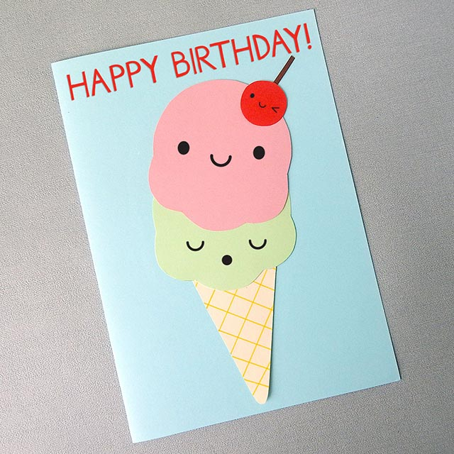 kawaii paper craft ice cream card tutorial copyright marceline smith
