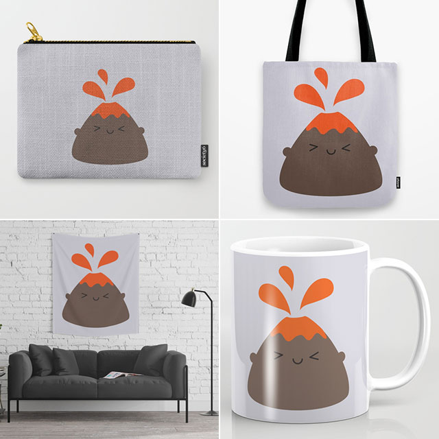 kawaii volcano society6 marceline