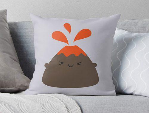 kawaii volcano pillow