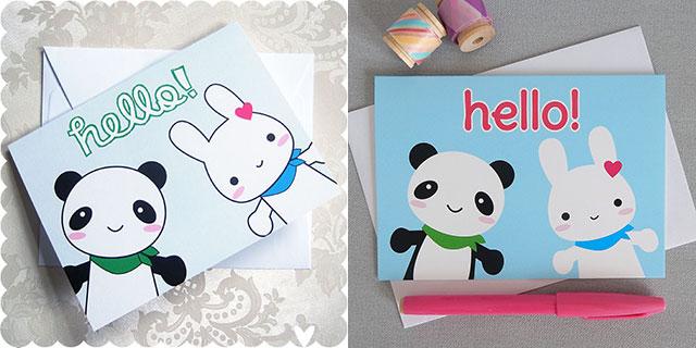 Bunny & Panda Card