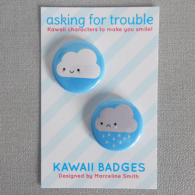 new kawaii skies badge set