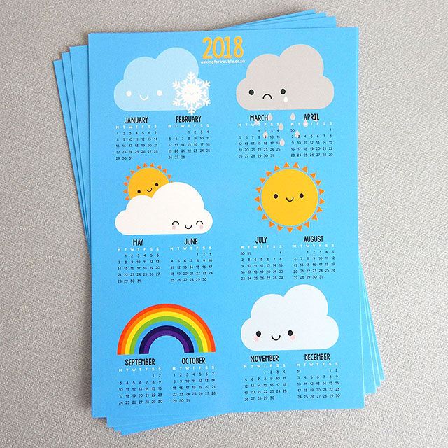 2018 Calendar postcards