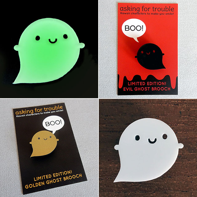 halloween ghost brooches