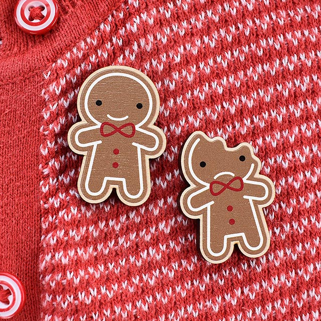 Gingerbread Man Wooden Brooches