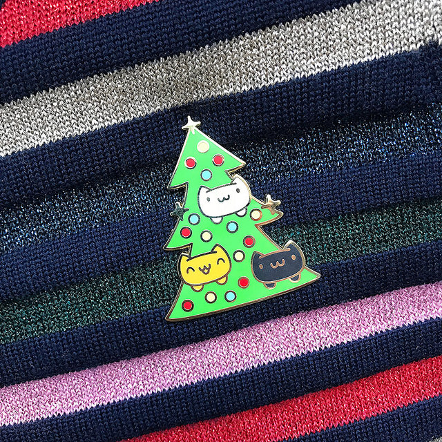 catmas tree enamel pin