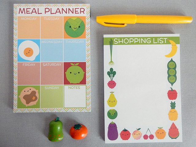 meal planner and shopping list notepads