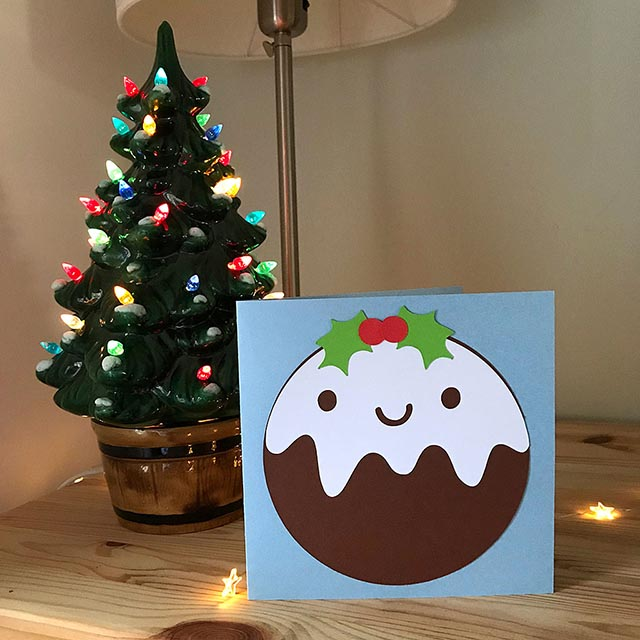 kawaii christmas pudding card