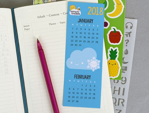 2018 Calendar Printable Bookmarks