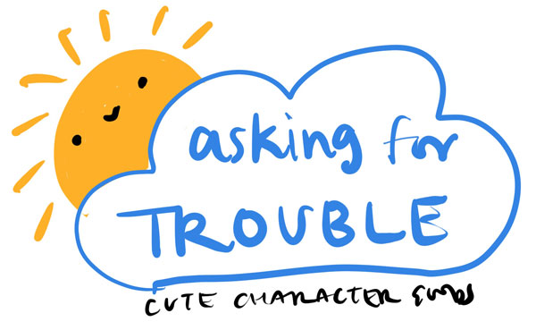 asking for trouble logo sketch