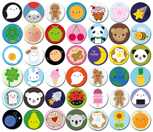kawaii buttons badges