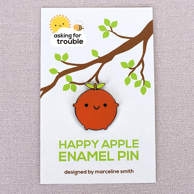 kawaii apple enamel pins