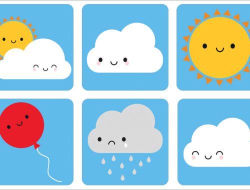 Kawaii Skies Gift Wrap - stickers