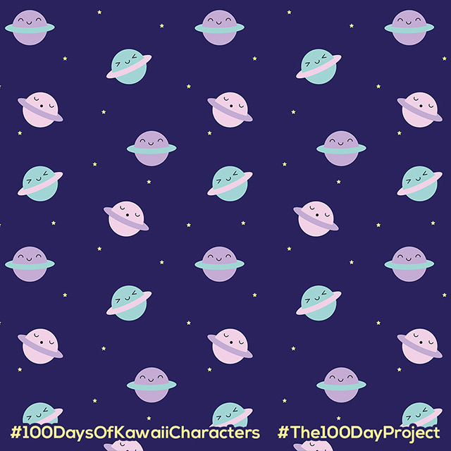 kawaii pastel planets pattern