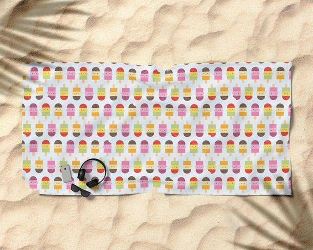 kawaii ice lollies beach towel