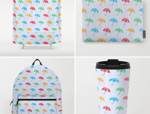 rainy day kawaii umbrellas pattern society6
