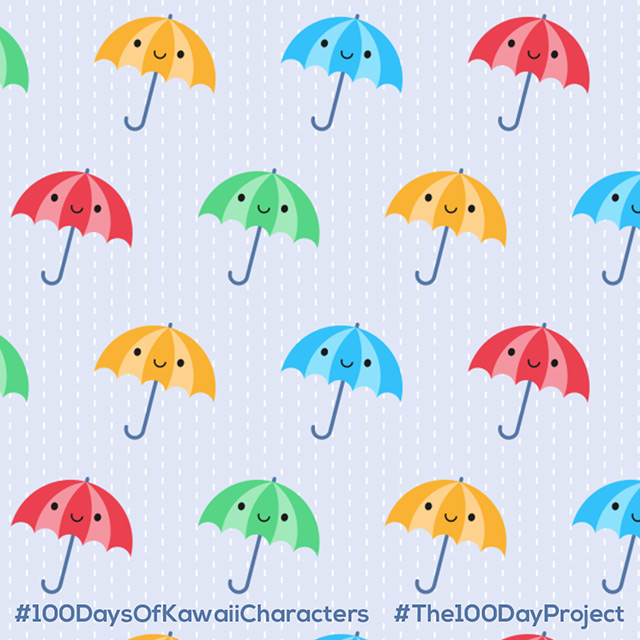 rainy day kawaii umbrellas pattern