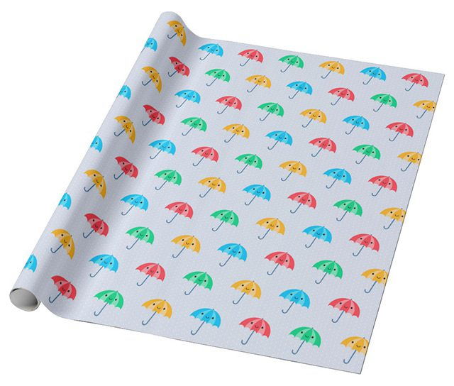rainy day kawaii umbrellas gift wrap
