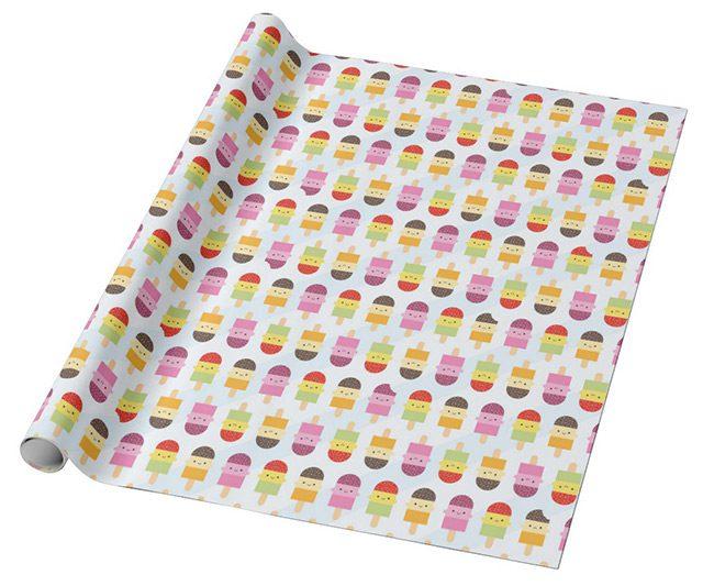 kawaii ice lollies gift wrap