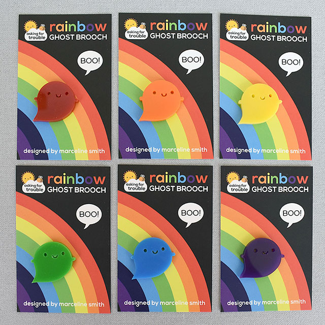 kawaii rainbow ghost brooches