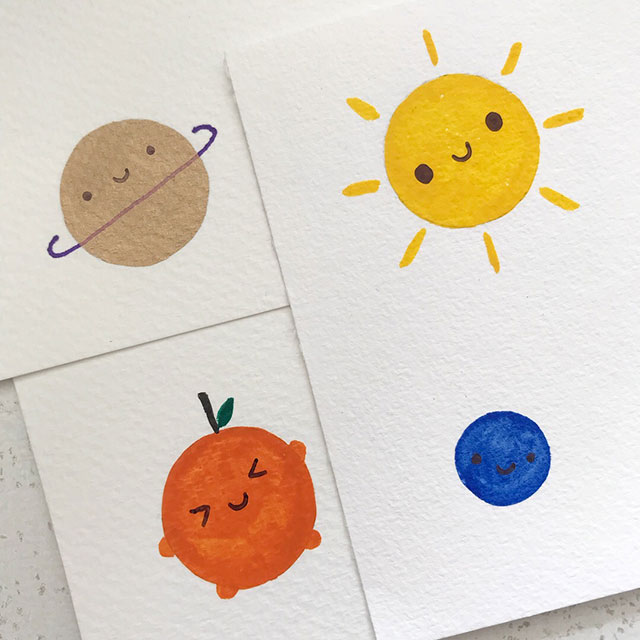 kawaii painted postcards