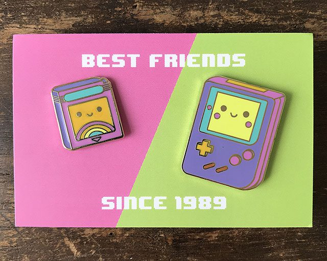 kawaii gameboy enamel pins