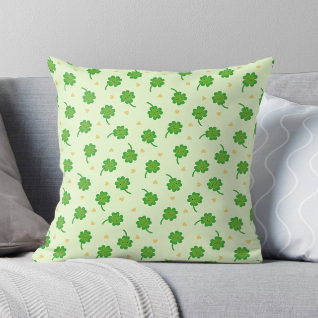 lucky clover kawaii pillow