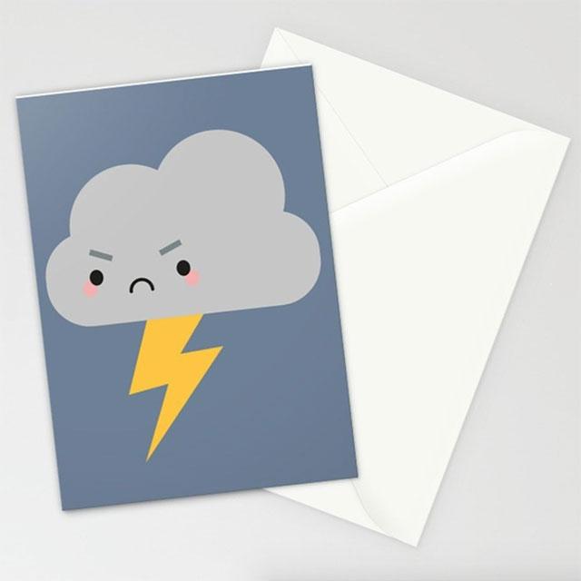 Kawaii Lightning Cloud card