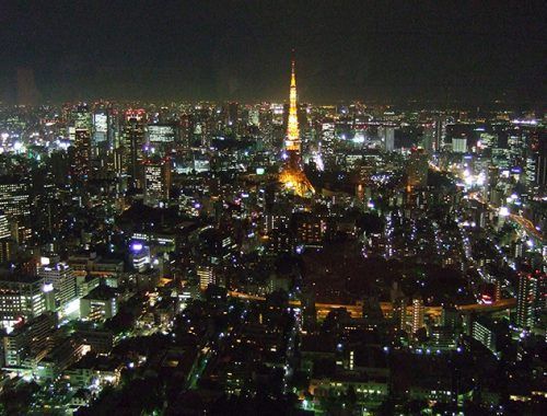 japan - tokyo night skyline from mori tower