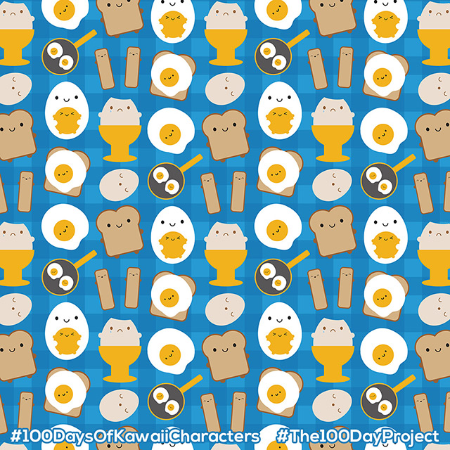 kawaii eggs for breakfast pattern