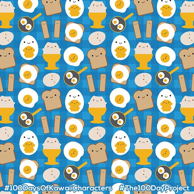 kawaii eggs for breakfast pattern
